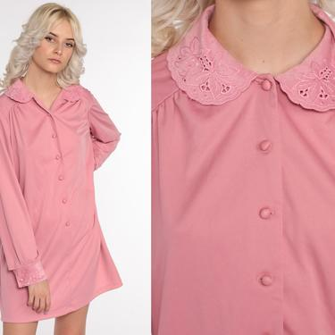 70s Shift Dress Pink Peter Pan Collar Eyelet Embroidered Dress Boho Mini Hippie Vintage Mod 1970s Button Up Long Sleeve Bohemian Large xl by ShopExile
