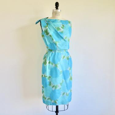 """Vintage 1960's Turquoise Aqua Blue Floral Print Sheath Dress Shoulder Bow Trim 60's Spring Summer Mad Men Style  27"""" Waist Small by seekcollect"""