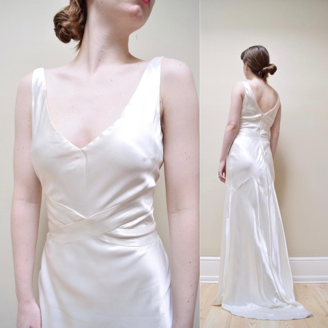 90s Does 30s Satin Bias Cut Rayon Wedding Dress