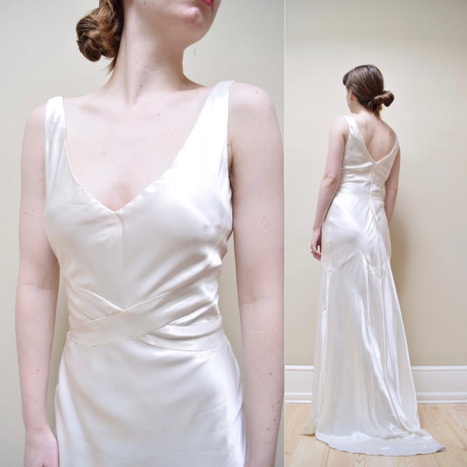 90s does 30s Satin Bias Cut Rayon Wedding Dress // Charmeuse Low Cut ...