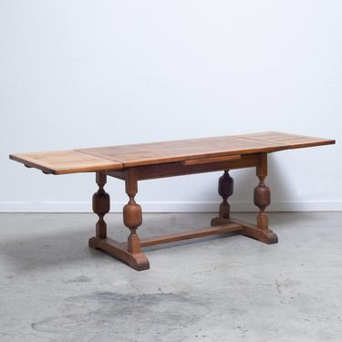 19th C. French Oak Draw-Leaf Dining Table/Console C.1850-1890