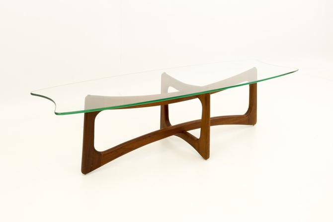 Adrian Pearsall Mid Century Modern Ribbon Coffee Table with Stingray Glass Top - mcm by ModernHill