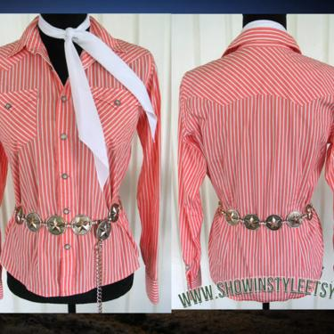 Ralph Lauren Vintage Western Retro Women's Cowgirl Shirt, Rodeo Blouse, Pink & White Striped, Tag Size 6, approx. Small (see meas. photo) by ShowinStyle