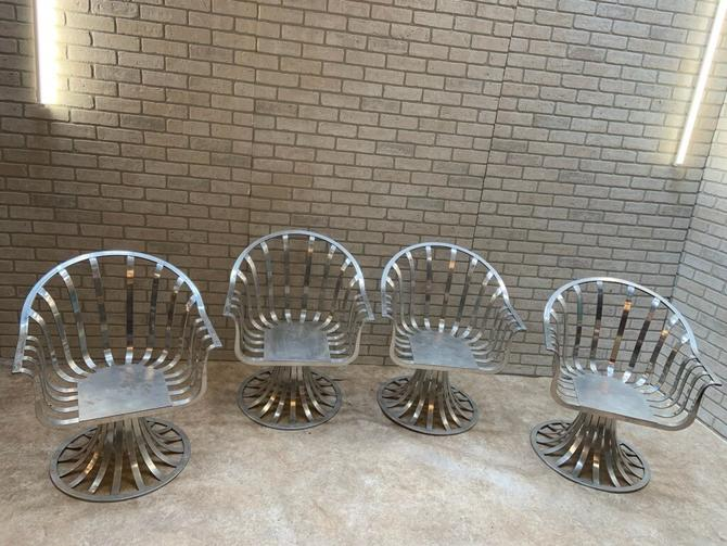 Mid Century Polished Aluminum Chairs by Russell Woodard - Set of 4