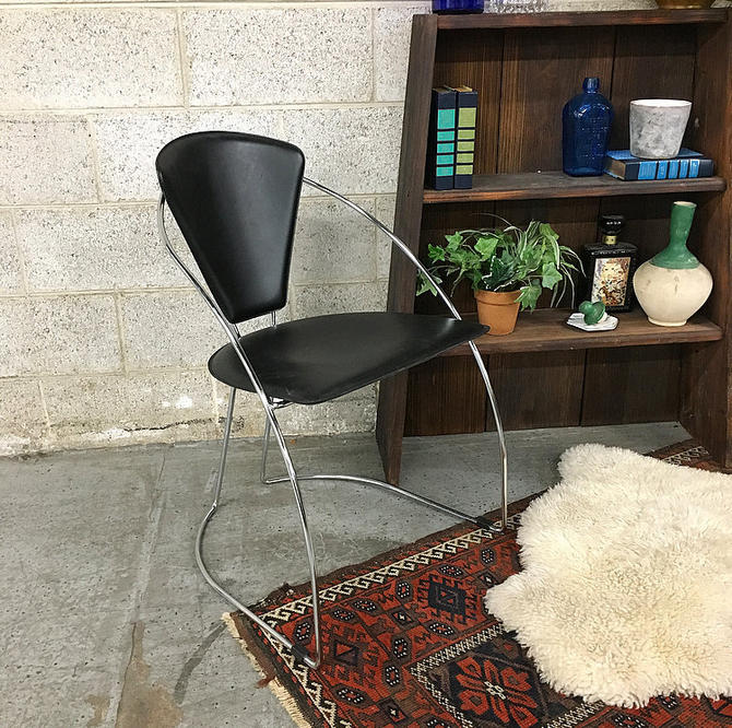 LOCAL PICKUP ONLY Vintage Metal Chair Retro 1990's Black Vinyl Seat with Curved Chrome Metal Frame Office or Living Room Chair by RetrospectVintage215