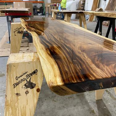 Live Edge Walnut Dining Table - Large Live Edge Walnut Desk by UmbuzoRustic