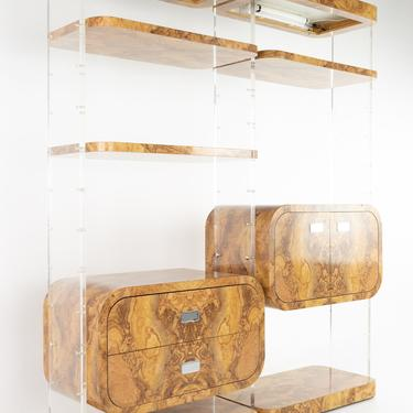 Milo Baughman Style Mid Century Burlwood Laminate and Lucite Bookcases - Pair - mcm by ModernHill