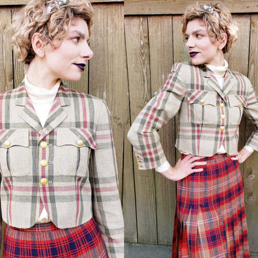 1990s Mondi Travel Cropped Blazer Plaid Tartan Pattern / 90s Short Jacket Military Style Gold Buttons / Small / Yvonne by RareJuleVintage