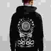 Black Unisex Hoodie with Rabbit Skull Print
