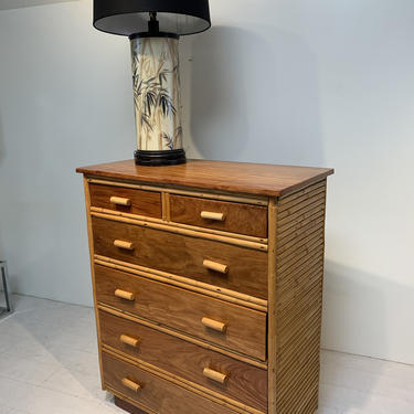Mid Century Modern Philippine Mahogany and Rattan Tallboy Chest of Drawers by XcapeVintage
