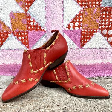 Red Leather Illusion Booties