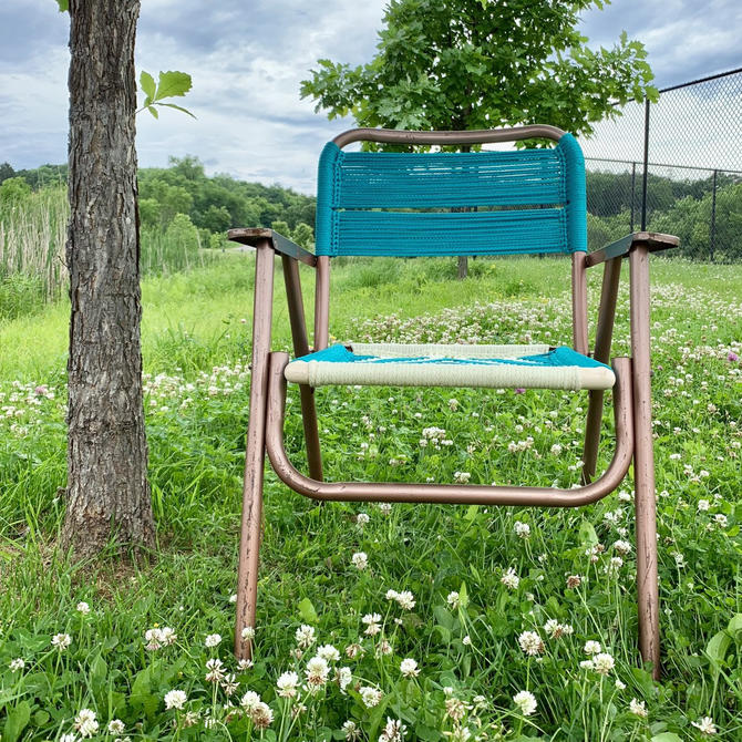 Macrame Lawn Chair | Webbed Lawn Chair | Aluminum Lawn Chair | Folding Lawn Chair | 1960s Lawn Chair | Outdoor Furniture by PiccadillyPrairie