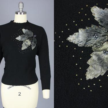 1950s STUDDED LEAF Sweater | Vintage 40s 50s Black Pullover with Grey Leaf Applique | medium / large by RelicVintageSF