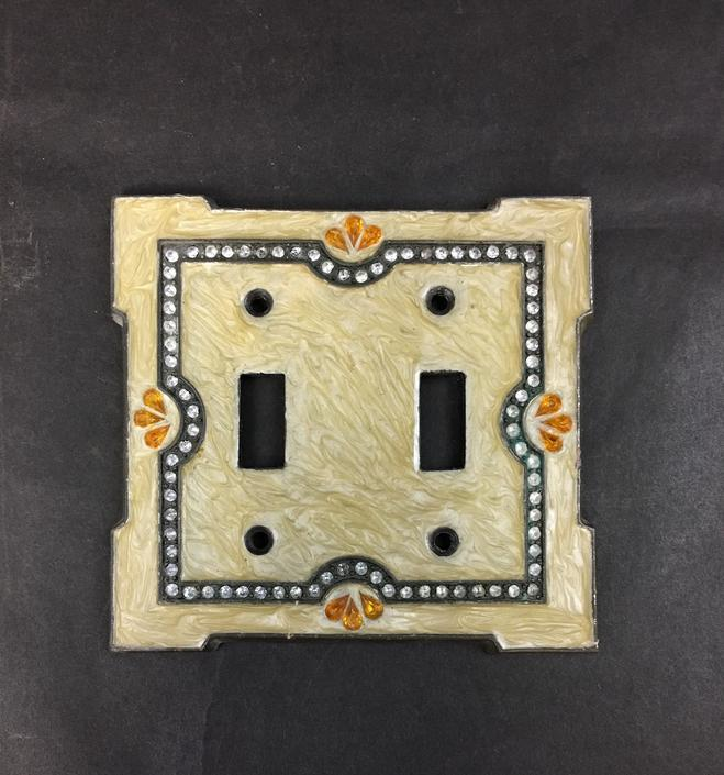Enameled Double Light Switch Cover with Rhinestone Detail