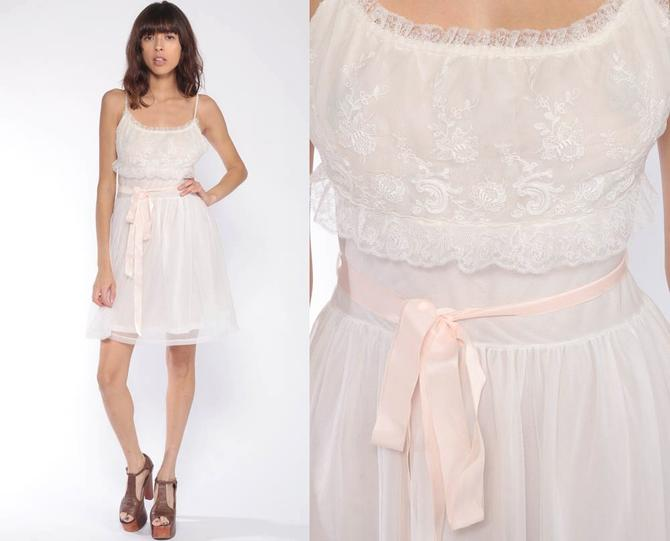 9e892e6573a 60s Lace Nightgown 34 Lingerie Slip Dress 70s Mini Boho White Sheer  Nightgown Sexy Pajama Pinup