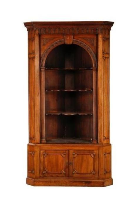 Antique English Gothic Revival Corner Cabinet