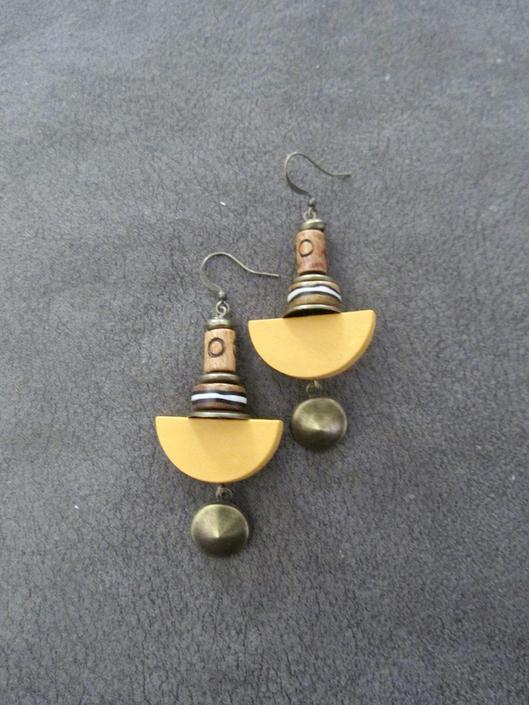 Yellow wood earrings, Afrocentric earrings, African earrings, bold earrings, statement earrings, geometric earrings, rustic natural earrings by Afrocasian
