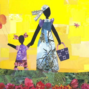 Yellow Sky and Balloons African American Art 10 x 8 Collage Print by Mirlande