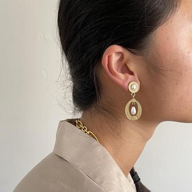 90s pearl drop earring / vintage gold Pearl cabochon dangle baroque pearl pendant art nouveau pierced earrings by RecapVintageStudio