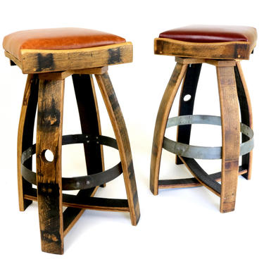 The Pub Stools - Leather Barrel Bar Stools - Wine and Whiskey Furniture by HungarianWorkshop