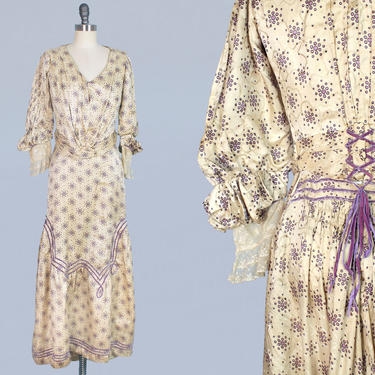 Victorian Two Piece Dress / 1900s Walking Suit / Printed Silk Bodice and Skirt Set by GuermantesVintage