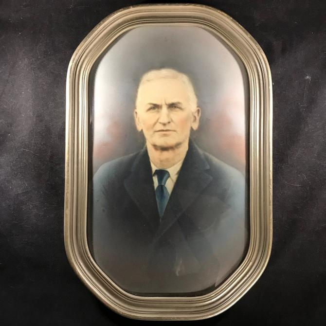 Vintage Framed Photo Portrait Hand Colored Instant Ancestor Convex Glass by accokeekpickers