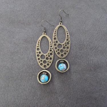 Imperial jasper earrings, modern earrings, rustic bronze earrings, mid century modern earrings, unique statement earrings, blue ethnic 3 by Afrocasian