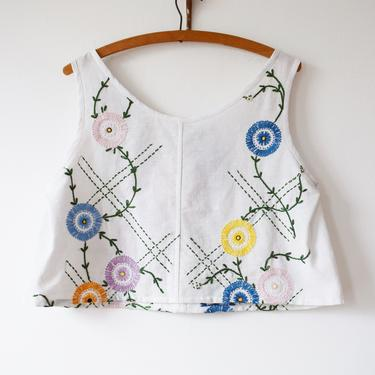 Vintage We, Mcgee-Made Picnic Top   Hand Sewn Blouse from Reworked 1930s/1940s Textiles   Embroidered Floral Lattice   S by wemcgee