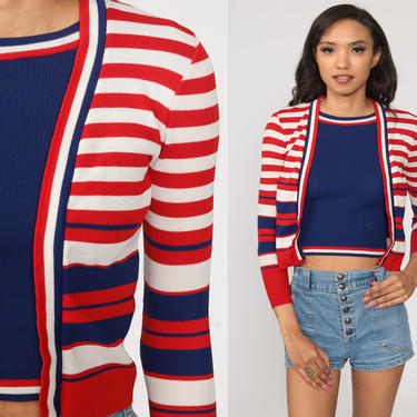 70s Cardigan Set ATTACHED SHIRT Red White Blue Sweater Boho Top Striped Shirt Hippie Vintage Bohemian Top 1970s Extra Small xs by ShopExile
