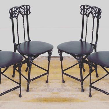 French Art Nouveau Chairs Folding Iron Set of 4 by coloniaantiques