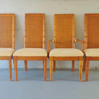 Vintage MCM American of Martinsville Faux Bamboo and Cane Dining Chairs - Set of 4 by ModandOzzie