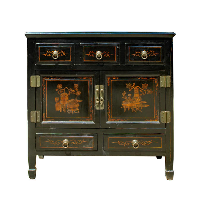 Chinese Vintage Golden Scenery Graphic Side Table Cabinet cs5865E by GoldenLotusAntiques