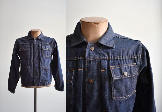 1970s Snap Up Dark Denim Jacket by milkandice