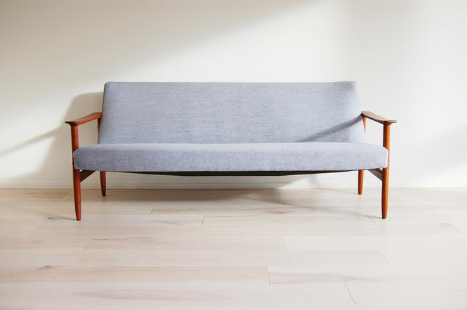Scandinavian Mid Century Modern Teak Three-Seater Sofa with light Grey Wool Upholstery by MidCentury55