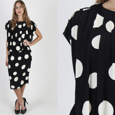 Black Polka Dot Dress / Blousy 1980s White Spotted Dress / Vintage 80s Baggy Draped Wiggle / Elastic Waist Pencil Skirt Cocktail Mini Dress by americanarchive