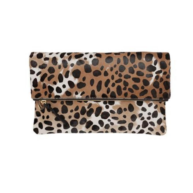 Foldover Clutch - Leopard Hair