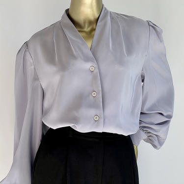 Satin Blouse in Pastel Purple Lavender fits S - L by BeggarsBanquet