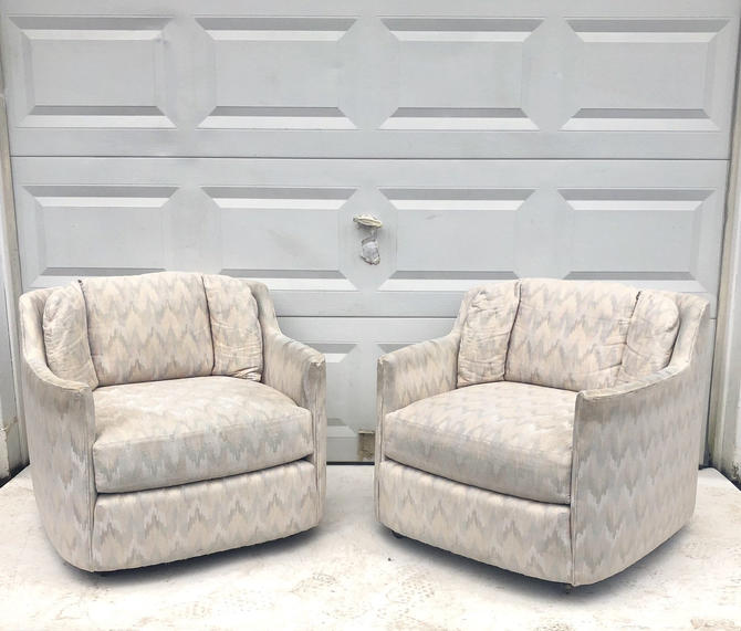 Pair Retro Modern Club Chairs on Casters by secondhandstory