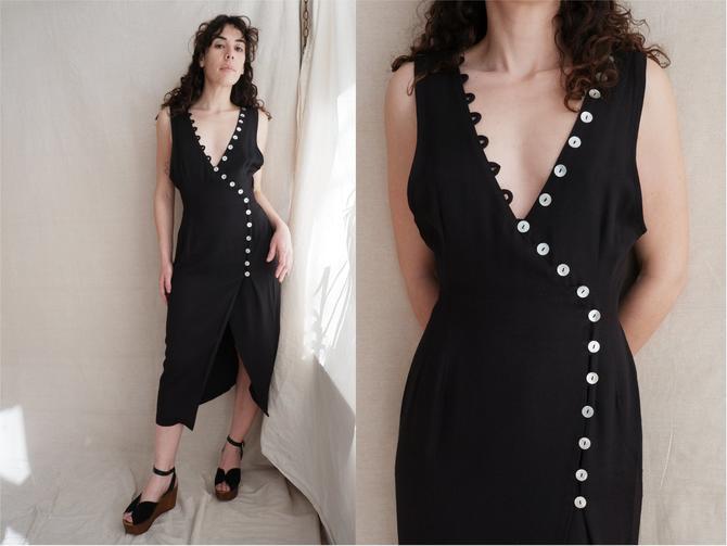 Vintage 90s Asymmetrical Shell Button Dress/ 1990s Black Midi Dress/ Size Small Medium by bottleofbread