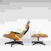 Eames Lounge Chair & Ottoman in Walnut and White Leather