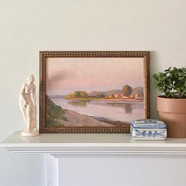 Small Vintage Oil Painting Plein Air River Landscape by ModRendition