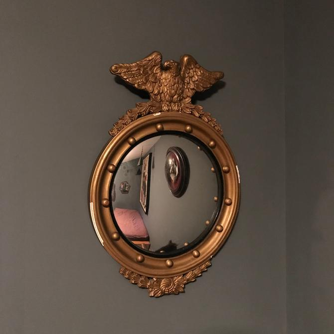 Vintage Convex Mirror American Federal Gilt Eagle Mid-Century Plaster Wall Mid-Century Wood Gold Bulls Eye Navy Admiral Fleet by BrainWashington