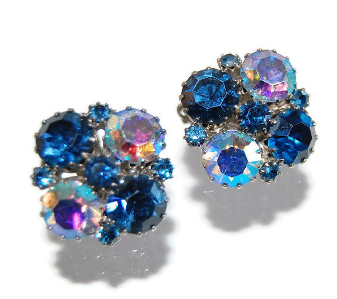 Weiss Sapphire Rhinestone Cluster Earrings Signed Designer