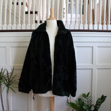 Vintage Faux Fur Fleece Zip Up Dark Green & Black Jacket Women's Size Small by NeonSkyVintageMN