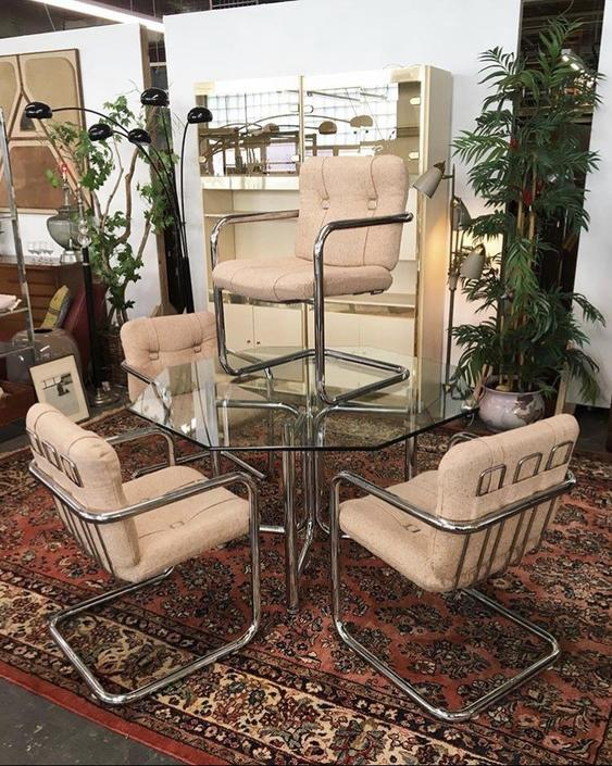Chrome Glass Table & Chairs