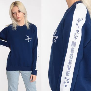 70s Ski Sweatshirt Megeve Ski Resort France Shirt Slouchy Raglan Sleeve Navy Blue Striped Sweatshirt 1970s Retro Top Vintage Medium by ShopExile