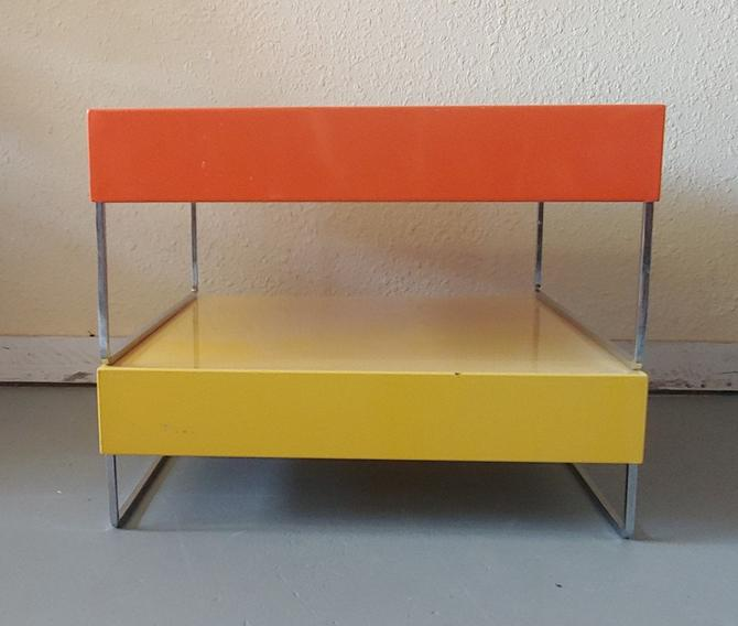 Modern Square Metal Orange and Yellow Tables Chrome Base - Set of 2 by ModandOzzie