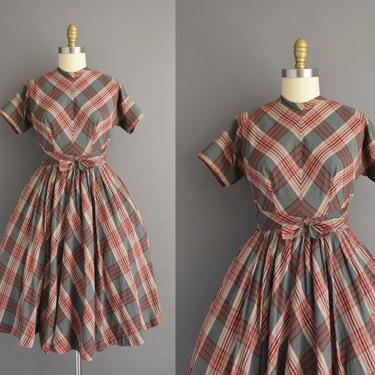 1950s vintage dress | Adorable Red & Gray Plaid Print Short Sleeve Full Skirt Cotton Summer Day Dress | Medium | 50s dress by simplicityisbliss