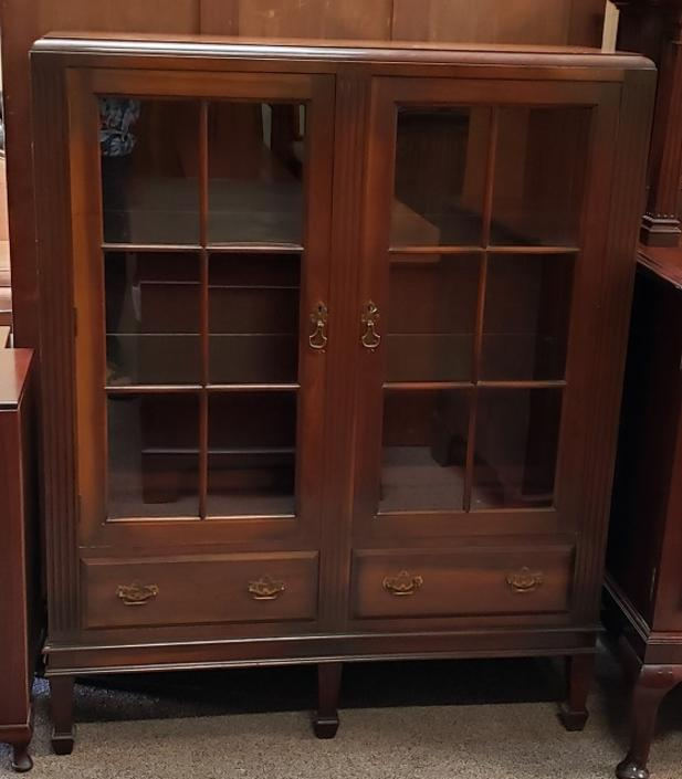 Item #IC2 Vintage Walnut Display Cabinet / Bookcase c.1940s