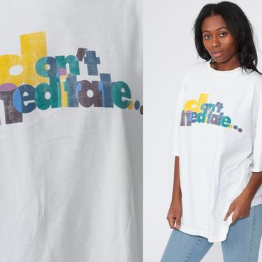 Reebok T Shirt 90s Don't Meditate, Elevate Athletic TShirt Streetwear Sports Running Top Retro Tee Vintage 1990s Extra Large xl xxl by ShopExile